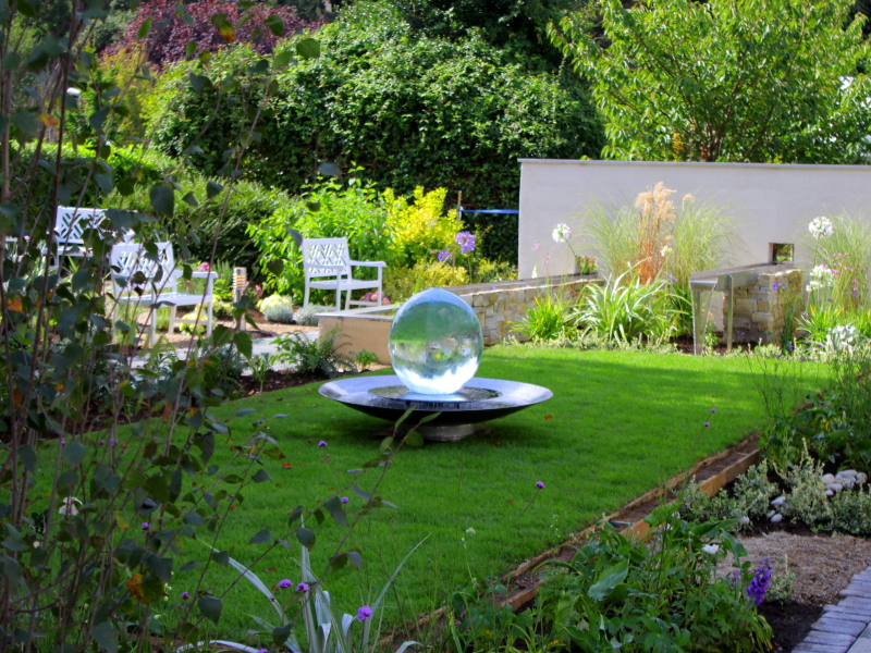 the garden design incorporates gentle water features to provide a calming effect and a planting design has been put in place which will mature into a