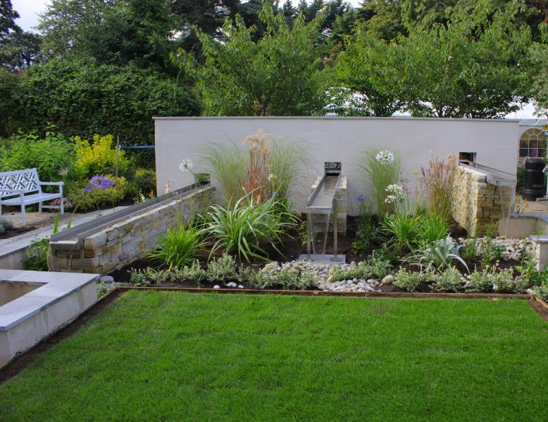 the garden design incorporates gentle water features to provide a calming effect and a planting design has been put in place which will mature into a - Garden Design Kildare